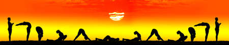 yoga class: ten steps of surya namaskar, sun salutation Exercises by Man in silhouettes at orange sunset background with the sun in the center. Step by step