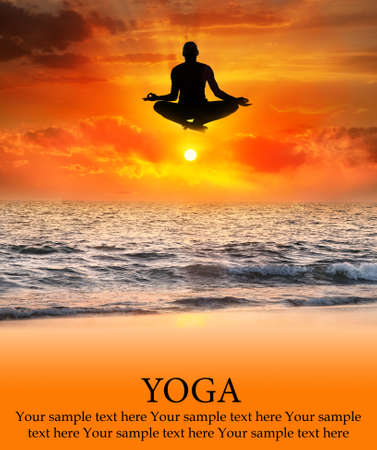 represents: Padmasana lotus pose by  jumping Man silhouette at sunset and ocean background. Free space for your text. Represents concept of yoga