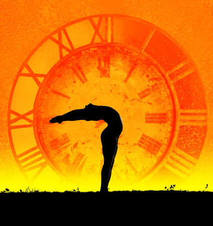 yoga meditation: Concept of yoga and time. Hasta Uttanasana pose from surya namaskar by Man in silhouette at clock background. Man is hands of clock representing ageless because of practice yoga Stock Photo