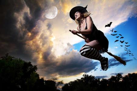 heks: Boze heks vliegen op bezemsteel met vleermuizen achter haar en de maan in de buurt in de avond dramatische hemel achtergrond. Vrije ruimte voor tekst
