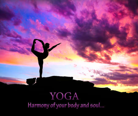 yoga meditation: Yoga Natarajasana dancer balancing pose by man silhouette with purple dramatic sunset sky background. Free space for text and can be used as template for web-site Stock Photo