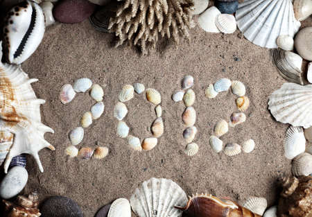 2012 new year message on the sand and seashells, coral and stones around it as a frame photo