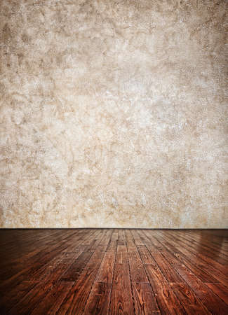 Wooden textured Floor and grunge brown wall background. Can be used as a template photo