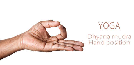 dhyana: Hand in Dhyana mudra by Indian man isolated at white background. Free space for your text Stock Photo