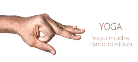 Hand in Vayu mudra by Indian man isolated at white background. Free space for your text photo