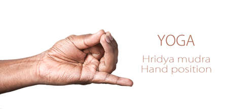 pranayama: Hand in hridya mudra by Indian man isolated at white background. Free space for your text Stock Photo