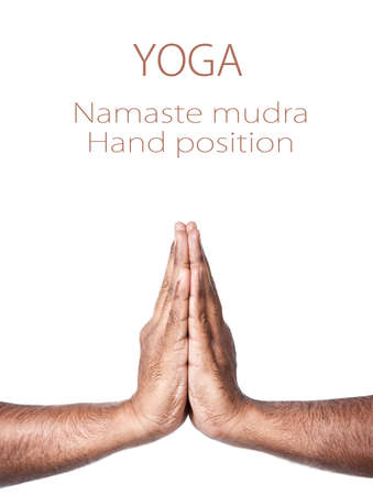 hindu god: Hands in Namaste prayer mudra by Indian man isolated at white background. Free space for your text