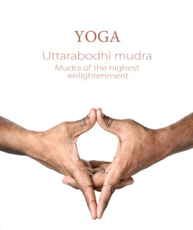 Hands in Uttarabodhi mudra by Indian man isolated at white background. Mudra of the highest enlightenment. Free space for your text