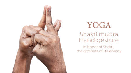 yogi: Hands in Shakti mudra by Indian man isolated at white background. Mudra named In honor of Shakti, the goddess of life energy. Free space for your text Stock Photo