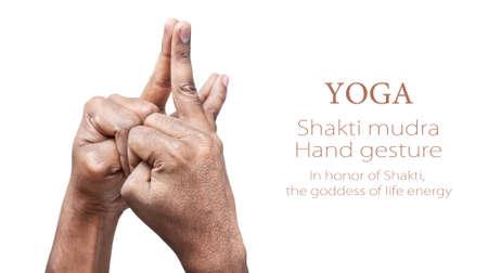 simbolo della pace: Mani in Shakti mudra da parte dell'uomo indiano isolato a sfondo bianco. Mudra così chiamato in onore di Shakti, la dea della energia vitale. Spazio libero per il testo
