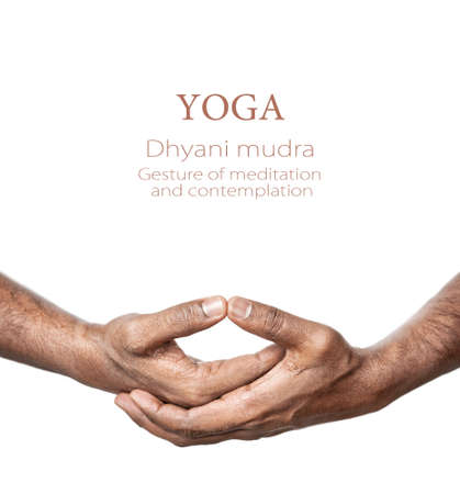 mudra: Hands in Dhyani mudra by Indian man isolated at white background. Gesture of meditation and contemplation. Free space for your text Stock Photo