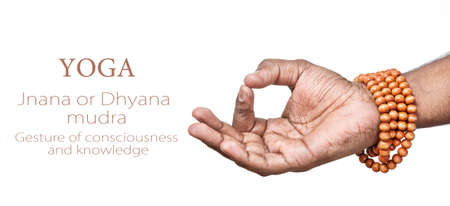 mudra: Hands in JNANA or dhyana mudra by Indian man isolated at white background. Gesture of consciousness and knowledge. Free space for your text Stock Photo