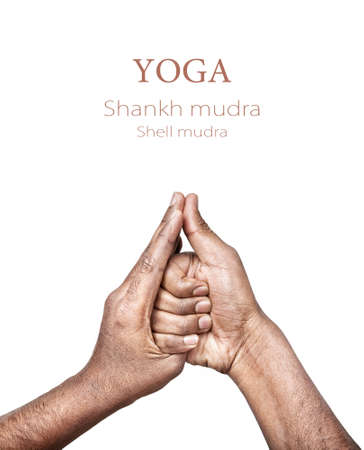 mudra: Hands in shankh mudra by Indian man isolated at white background. Gesture of shell. Free space for your text Stock Photo