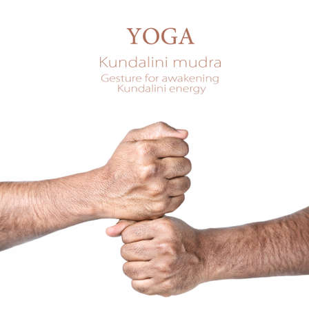 kundalini meditation: Hands in kundalini mudra by Indian man isolated at white background. Gesture of awakening kundalini energy. Free space for your text Stock Photo