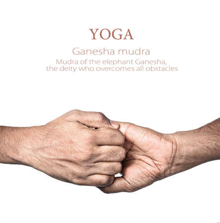 yogi: Hands in Ganesha mudra by Indian man isolated at white background. Mudra of the elephant Ganesha,  the deity who overcomes all obstacles. Free space for your text