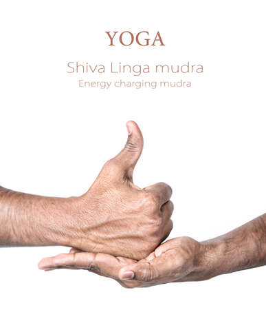samadhi: Hands in shiva linga mudra by Indian man isolated at white background. Gesture of energy charging. Free space for your text