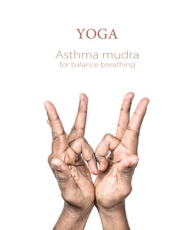 mudra: Hands in asthma mudra by Indian man isolated at white background. Gesture for balance breathing. Free space for your text and can be used in articles about mudras