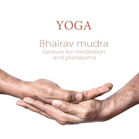 Hands in Bhairav mudra by Indian man isolated at white background. Gesture for meditation and pranayama. Free space for your text