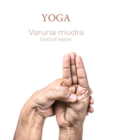 samadhi: Hands in Varuna mudra by Indian man isolated at white background. Gesture of God of water. Free space for your text Stock Photo