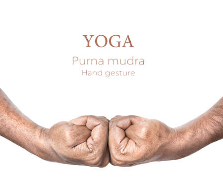 pranayama: Hands in purna mudra by Indian man isolated at white background. Free space for your text and can be used in articles about mudras
