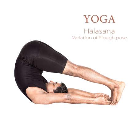 legs spread: Variaci�n de Halasana arado representan por el hombre indio en pa�o negro aislado en fondo blanco. Espacio libre para el texto y se puede utilizar como plantilla para sitio web Foto de archivo
