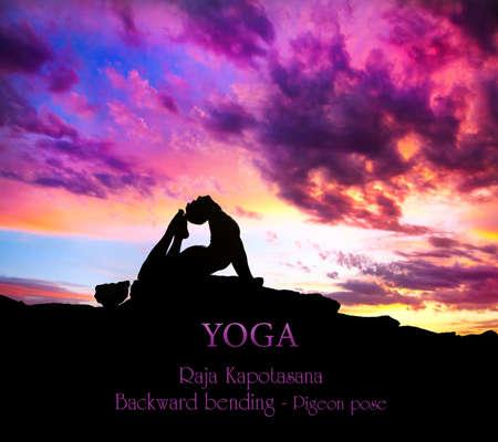 bhujangasana: Yoga Raja Kapotasana backward bending pose by Man in silhouette on the rock outdoors at mountains and cloudy sky background