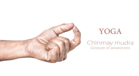 Hand in Chinmay mudra by Indian man isolated at white background. Gesture of awareness. Free space for your text photo