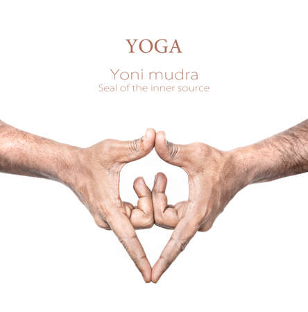 pranayama: Hand in Yoni mudra by Indian man isolated at white background. Gesture of the inner source. Free space for your text