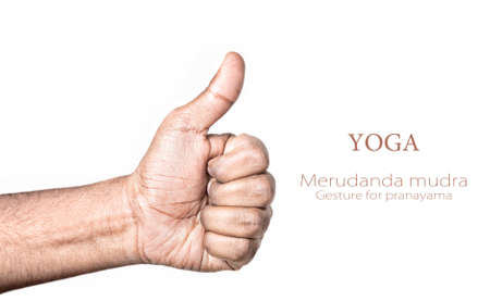 Hand in merudanda mudra by Indian man isolated at white background. Gesture for Activating the prana energy in the center of the chest, warms the body. Free space for your text photo