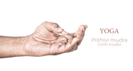 Hand in Prithivi mudra by Indian man isolated at white background. Gesture for balancing energy of lower abdomen. Free space for your text photo