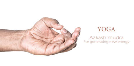 dullness: Hand in Aakash mudra by Indian man isolated at white background. Gesture for reducing dullness and generating new energy. Free space for your text Stock Photo