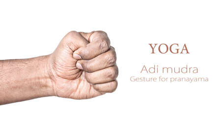pranayama: Hand in Adi mudra by Indian man isolated at white background. Gesture for pranayama. Free space for your text