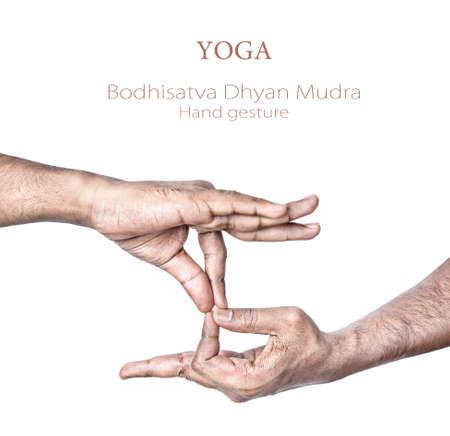 dhyana: Mano nella Bodhisattva Chohan mudra da parte dell'uomo indiano isolato a sfondo bianco. Spazio libero per il testo