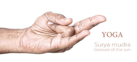 Hand in Surya mudra by Indian man isolated at white background.  photo