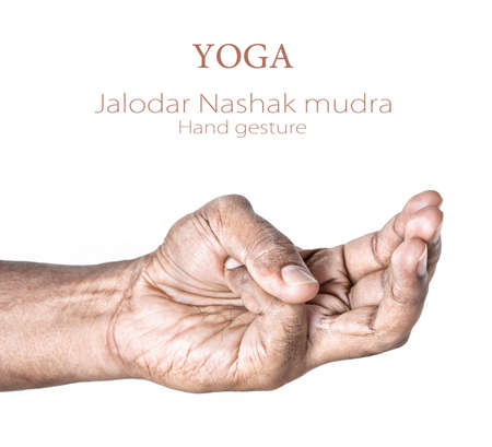 samadhi: Hand in Jalodar Nashak mudra by Indian man isolated at white background.