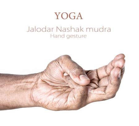 pranayama: Hand in Jalodar Nashak mudra by Indian man isolated at white background.