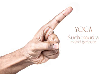 mudra: Hand in Suchi mudra by Indian man isolated at white background. Free space for your text Stock Photo