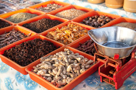 varkala: Various of spices at market in Varkala, Kerala, India