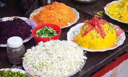 vegs: Indian festival with traditional vegetarian food in Varkala, Kerala, India
