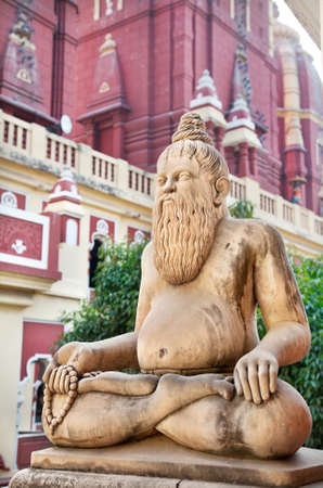 Statue of man in meditation pose with mala in Laxmi Narayan temple or birla madir in new delhi, India photo