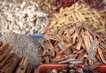 Various spices at market in Varkala, Kerala, India photo