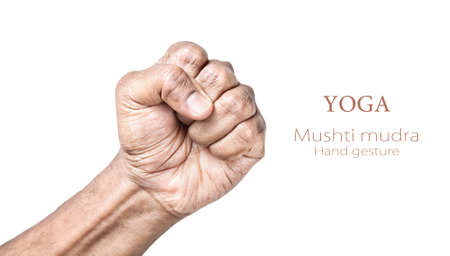 hand of god: Hand in Mushti mudra by Indian man isolated at white background. Free space for your text