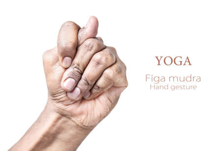 mudra: Hand in Figa mudra by Indian man isolated at white background. Free space for your text