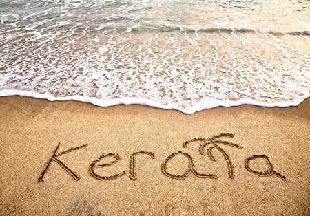varkala: Kerala title on the sand beach near the ocean