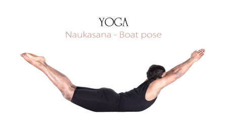 Yoga naukasana boat pose by Indian man in black cloth isolated at white background. Free space for text and can be used as template for web-site photo