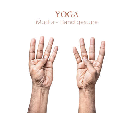 four fingers: Hands in mudra by Indian man isolated on white background. Free space for your text