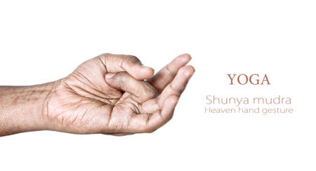 Hands in shunya heaven mudra by Indian man isolated on white background. Free space for your text photo