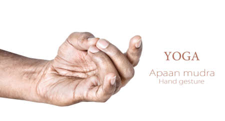 yogi: Hands in apaan mudra by Indian man isolated on white background  Free space for your text Stock Photo