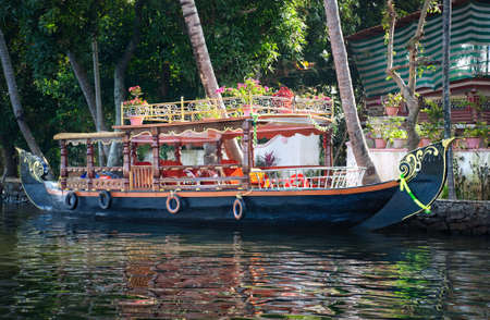 backwaters: Boat in backwaters in alappuzha, Kerala, India