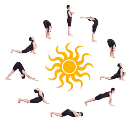 Indian man in black costume doing ten steps of surya namaskar, sun salutation Exercise at white background with the sun in the center